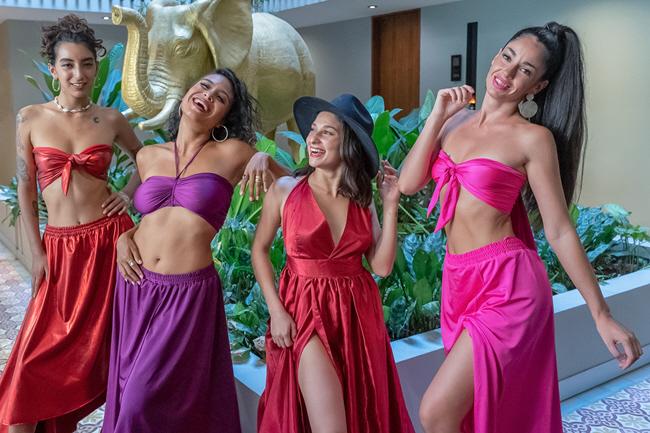 Ladies Group Posing Flying Dress